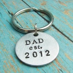 CUSTOM Key Chain Round Hand Stamped With Brushed Aluminum Charm New Dad Daddy Established YEAR Custom Made Personalized