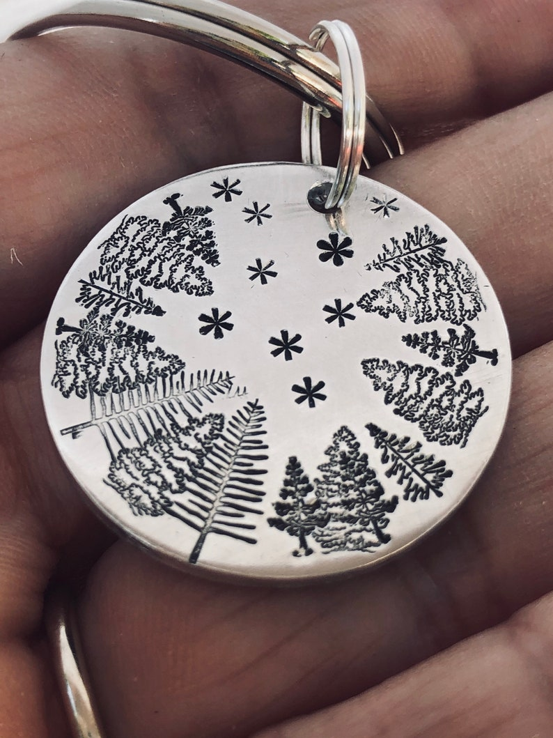 Starry NIGHT SKY Key Chain Hand Stamped With Brushed Aluminum Charm Handmade Trees Stars Evening Sky Gift For Man Boyfriend Husband Outdoors