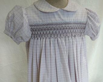 Hand Smocked Dress, size 3-4 years, mauve, gray, white #724