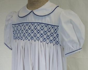 Hand Smocked Dress, size 4-5 years, white #725