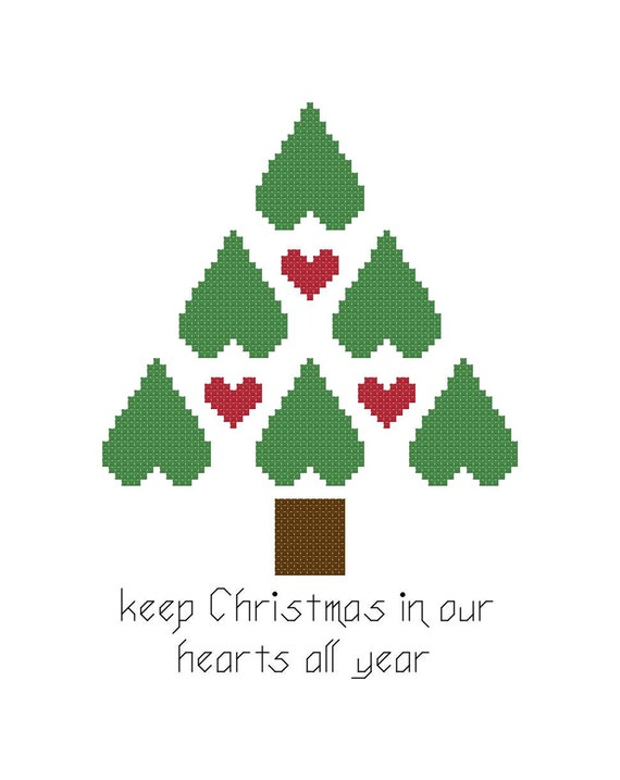 Christmas In Our Hearts.Christmas Cross Stitch Pattern Christmas Tree Keep Christmas In Our Hearts All Year Digital File Instant Download Pdf File X Stitch