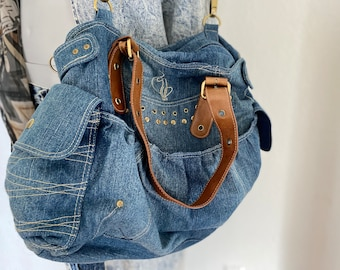 Romantic Bag Over the Shoulder Hanging Purse in Faded Upcycled Denim with Lace Linen n beads Cross Body Bag