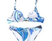 Vintage EMILIO PUCCI bikini two piece Pucci bikini swimsuit blue Pucci bathing suit small