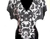 80 39 s Vintage black and white beaded dress, heavily embellished dress, white sequin flapper dress, size large, l