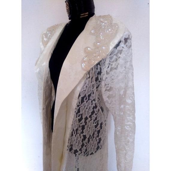 PLUS SIZE Vintage white lace duster jacket, white formal dress coat, mother  of the bride tuxedo dress coat, high low, plus size 18