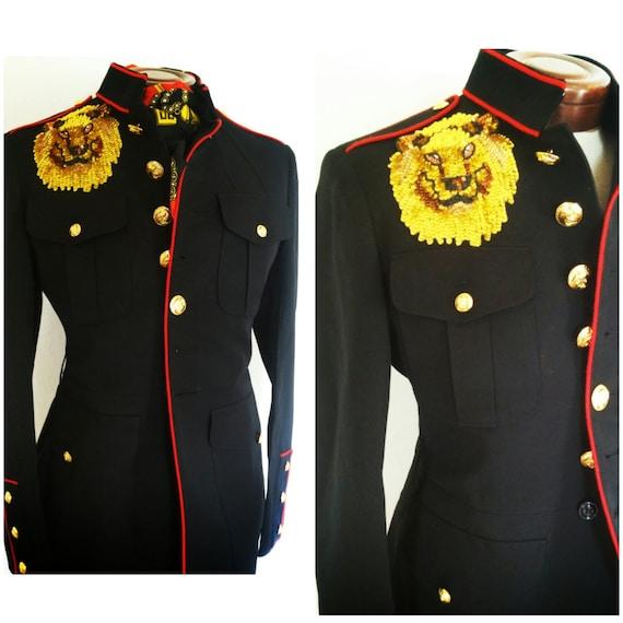 Men s Vintage Military Jacket navy blue red sequined  c2588d953b9