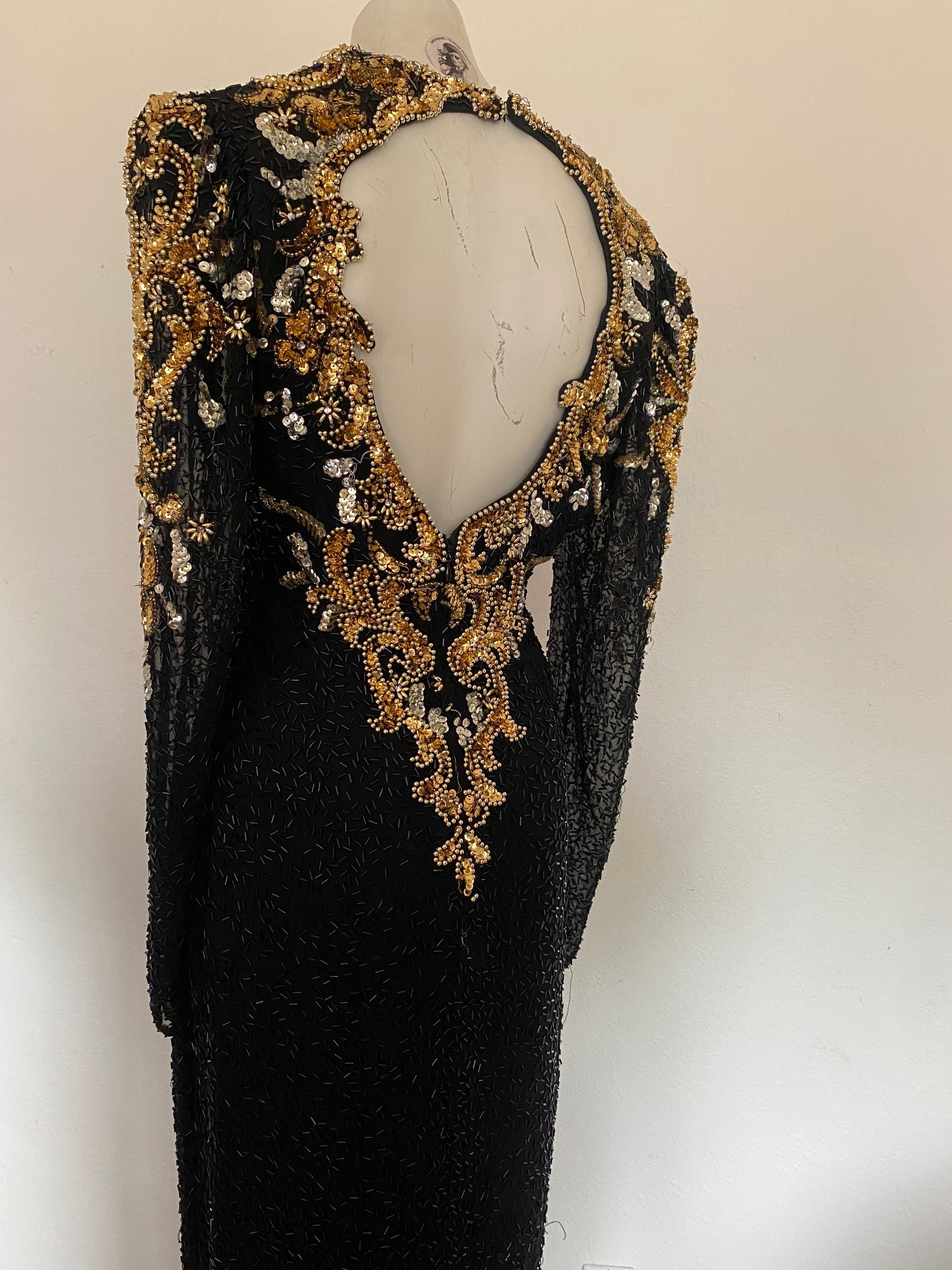 80s Dresses | Casual to Party Dresses 80S Heavily Embellished Full Length Gown, Long Sequin Gold Dress, Beaded Flapper Dress Size Medium M 1012 Eur 40 $249.99 AT vintagedancer.com