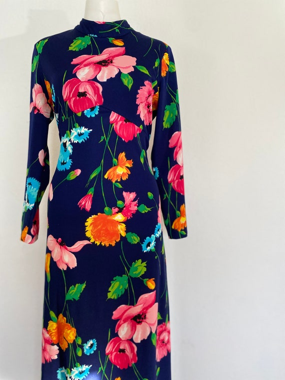 1970's Vintage HOSTESS DRESS, floral maxi dress lo