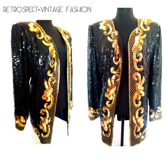 5fafebda859 Vintage GOLD sequin jacket heavily beaded duster jacket black