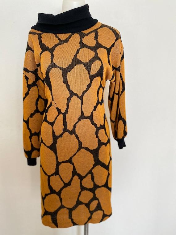 1990s  90s Vintage Abstract Animal Print Dress  Medium  Large