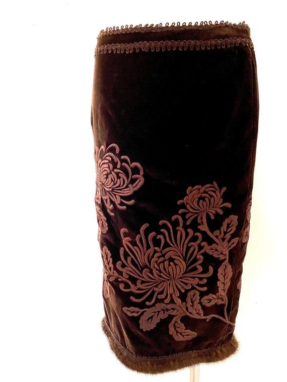 Vintage ANDREW GN mink skirt, Andrew GN embroidere