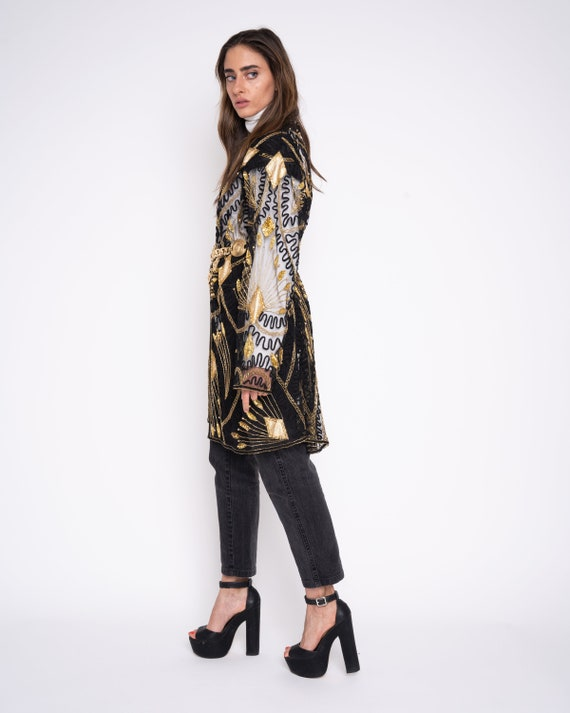 Vintage Long Sequin Jacket, gold sequin beaded dus