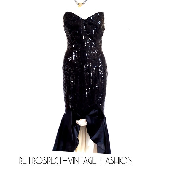 80s PROM DRESS, vintage sequin prom dress, black s