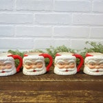 4 Vintage Winking Blue Jewel Santa Claus Christmas Holiday Mug Cups