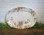 Antique Brown Transferware Ironstone 16 quot Large Serving Platter Clifford