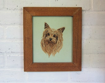 Framed Completed Yorkie Dog Cross Stitch Picture