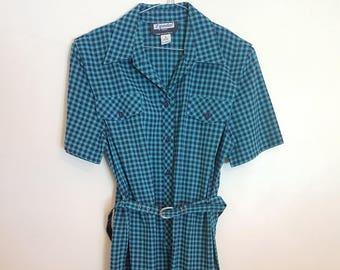 Vintage 1980's blue and green gingham secretary dress