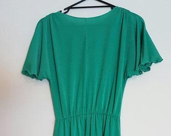 Vintage 1970's bright green evening dress