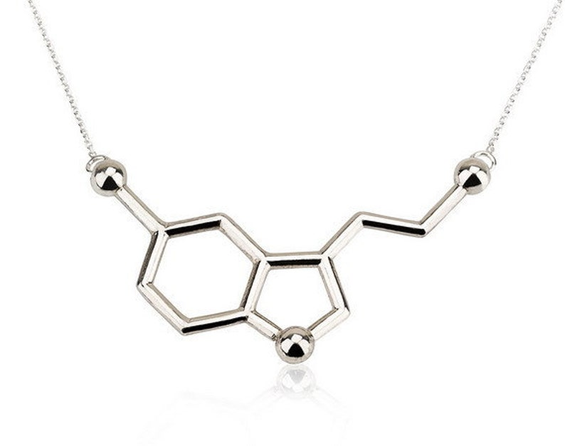 Serotonin Necklace Science Pendant Molecule Jewellery image 0