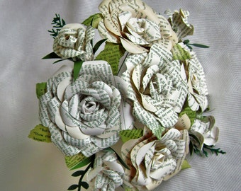 Book page recycled paper rose bouquet alternative wedding buds and blooms book page bouquet with leaves wedding bride bridesmaid toss centerpiece recycled paper flowers mightylinksfo
