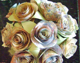 Handmade paper flowers custom bouquets recycled by hbixbyartworks the stephanie vintage map atlas spiral rose paper flower bridal bouquet toss bridesmaid recycled wedding alternative destination centerpiece mightylinksfo