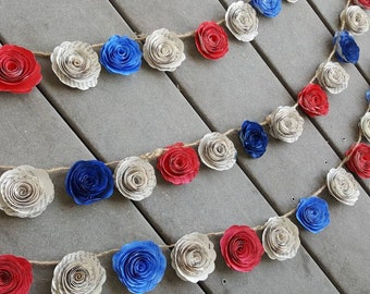 Red party streamer etsy patriotic red white and blue paper flower garland bunting wedding decor streamer spiral roses farmhouse country americana mightylinksfo