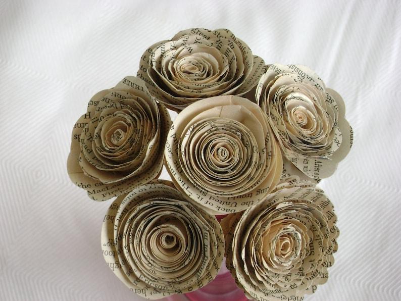 Jane Austen roses 6 paper flowers 2 spirals recycled book page bouquet bridal alternative Valentines romantic everlasting farmhouse decor