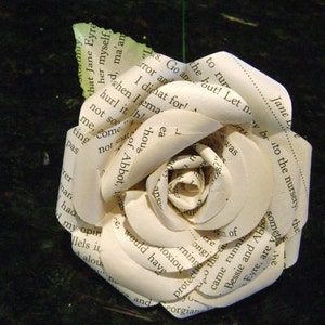 The Marta custom bridal bouquet with vintage book page roses and spiral teal coral yellow and ivory paper roses