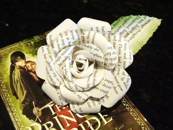 Paper Rose Princess Bride Recycled Book Page Flower For Etsy