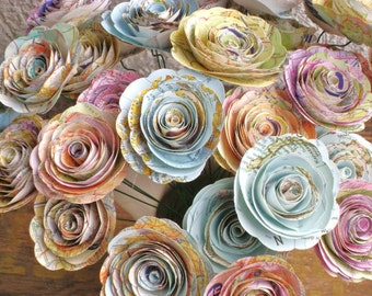 """bulk map 50 spiral rolled roses from vintage  atlas pages maps  1-1.5 inch or 2- 2 1/4"""" no stems"""