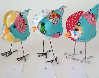 Mini stuffed fabric bird spring decor farmhouse soft sculpture birdie