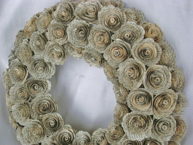 14 Jane Austen Pride and Prejudice  or Harry Potter recycled book page spiral paper roses wreath