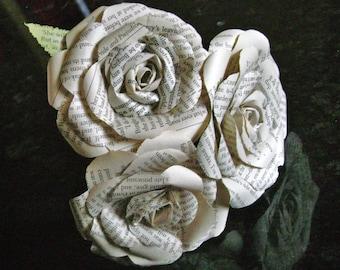 3 rose mini bouquet book page paper flower bridesmaid bouquet flower girl toss bridal wedding decoration