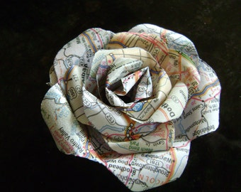 3 inch map rose recycled atlas paper flower