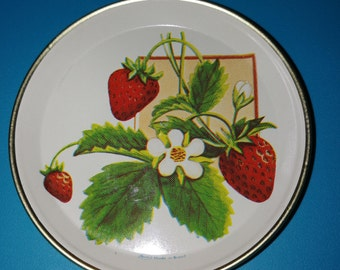 Rare 60s Vintage Meister Strawberry Tin Coasters made in Brazil