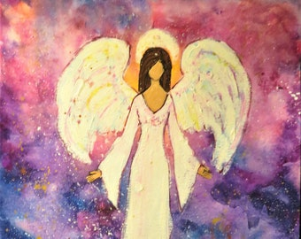 Heal the World Angel- Original Watercolor and Mixed Media Art