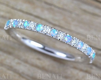 Opal and Diamond Eternity Band, Opal Ring, Eternity 2 mm Wedding Band, Thin Opal Wedding Ring, Opal Band, Opal Stacking Ring, Promise Ring