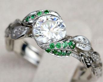 White leaf Ring, Emerald Leaf Engagement Ring, Moissanite Engagement Ring, Leaf Ring, Leaf Ring With Emerald Stone, Wedding Floral  gold 18k