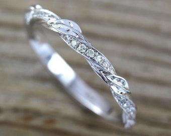 Leaf twig diamond wedding band, Mobius Wedding ring, Profile Mobius Ring In 14k White Gold, Mobius Wedding band, filigree, antique, vintage