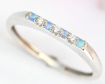Opal and Diamond Eternity Band, Opal Ring, Bar Wedding Band, Thin Opal Wedding Ring, Opal Band, Opal Stacking Ring, Promise Ring