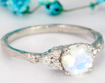 Vintage moonstone engagement ring white Gold, Antique wedding ring, Floral bridal ring, Anniversary ring, Art deco Promise ring