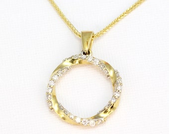 Circle mobius pendant 14k solid gold with natural diamonds, Gift for her, Pendant with chain, Disc Diamond pendant ,Open Circle