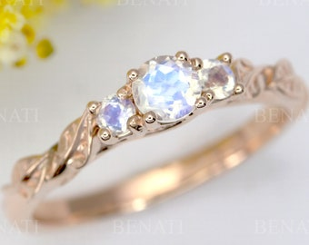 Rose gold three stone moonstone leaf ring, Boho engagement ring, 18k gold nature promise ring, 14k rose gold rainbow moonstone vintage ring