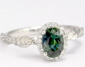 READY TO SHIP 14k white gold Teal sapphire engagement ring, Nature inspired oval blue natural sapphire solid gold, Vintage leaf ring