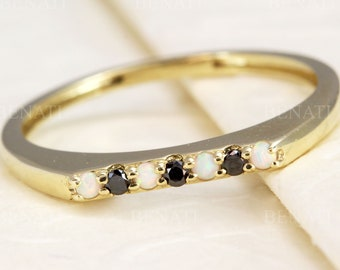 White opal black diamond 14k gold ring, bar ring ,14k 18k Dainty ring, Elegant simple unique anniversary gift for her, Thin Stacking Band