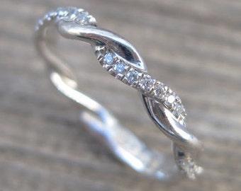 Diamond Infinity Knot Ring, Infinity Ring Diamond Wedding Ring, Infinity Wedding Band, Diamond Infinity Ring, Braided Diamond Wedding Band