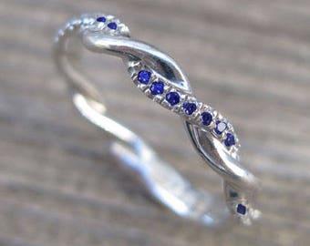 Sapphire Wedding Band, Sapphire Infinity Knot Ring, Infinity Sapphire Wedding band, Infinity Wedding Ring, Braided Sapphire Wedding Band