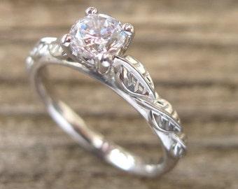 Leaf Diamond Engagement Ring, Engagement Ring, Antique Engagement Ring, Antique Engagement Ring, White Gold And Diamond Engagement Ring