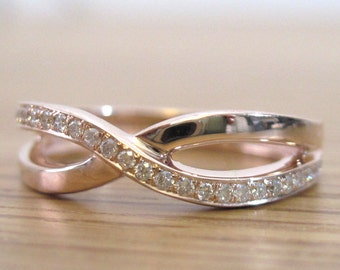 Rose Gold Diamond Knot Ring, Infinity Knot Ring, Gold Infinity Knot Diamond Ring, Gold Engagement Ring, Diamond Infinity Ring