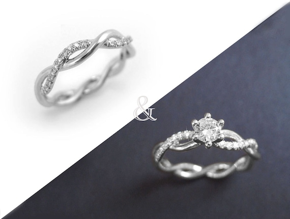 Diamond Infinity Ring Bridal Set Infinity Knot Engagement And Etsy